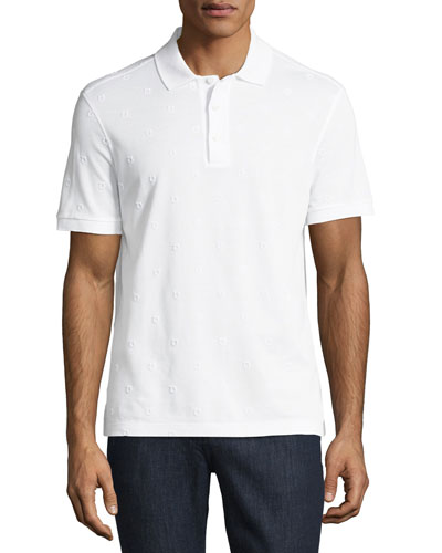 Piqué Polo Shirt with Floating Gancio Embroidery