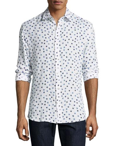 Shell-Print Linen Sport Shirt
