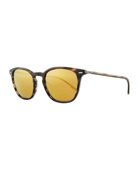 Heaton Square Acetate Sunglasses, Blue Cocobolo/Amber Goldtone