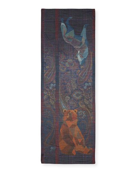 Men's Wool/Silk Shawl with Bear & Wolf