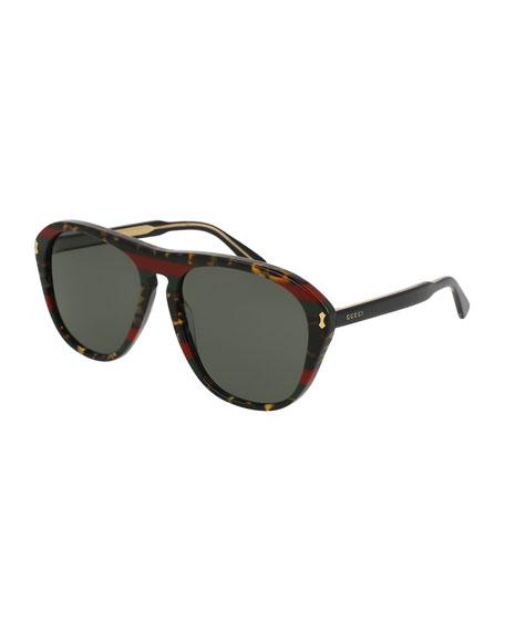 Gucci Men's Acetate Aviator Sunglasses