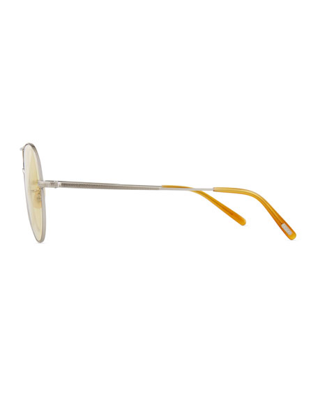 Rockmore Metal Oversized Pilot Sunglasses, Brushed Silver/Yellow Wash