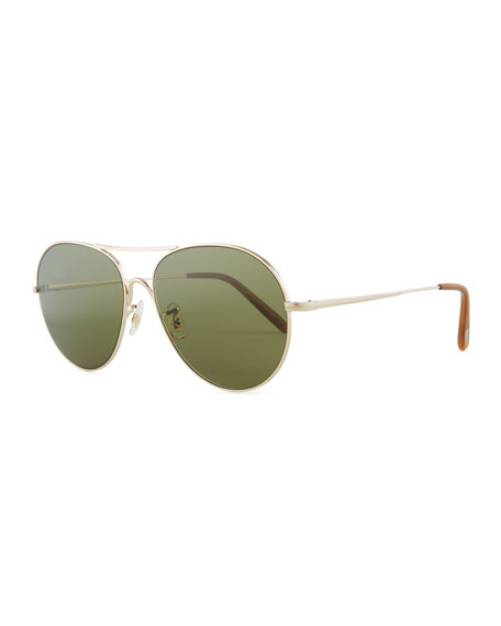 Oliver Peoples Rockmore Metal Oversized Pilot Sunglasses,