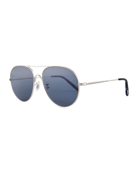 Rockmore Metal Oversized Pilot Sunglasses, Brushed Silver/Blue