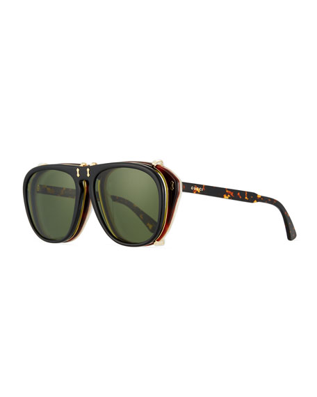 Men's Acetate Aviator Optical Frames w/ Sunglasses