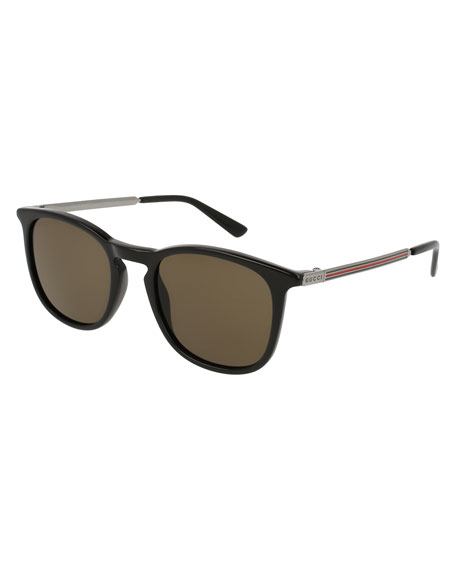 Gucci Men's Square Optyl Web Sunglasses, Black