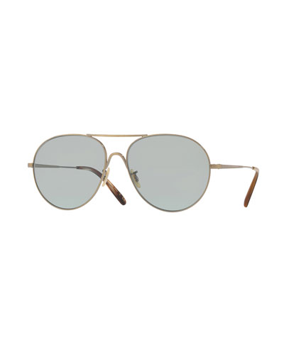 Rockmore Metal Oversized Pilot Sunglasses, Antique Gold/Green Wash Glass