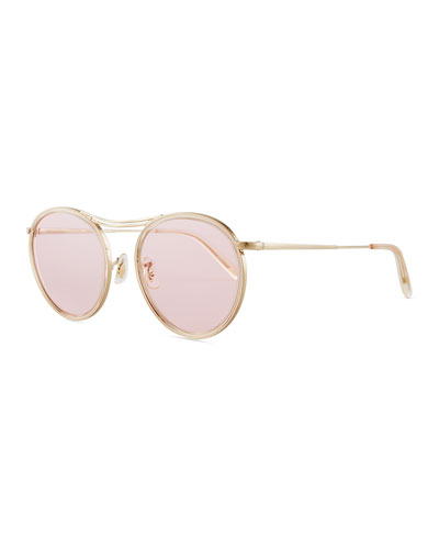 MP-3 30th Round Photochromic Sunglasses, Buff/Pink Wash