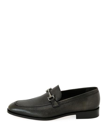 Textured Leather Gancini-Bit Loafer