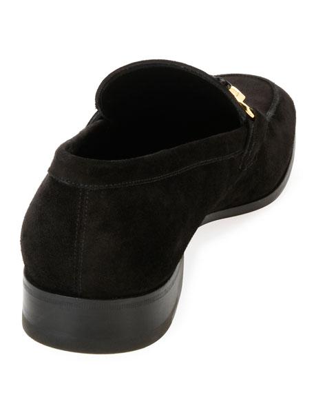 Suede Braided Gancini Loafer, Black