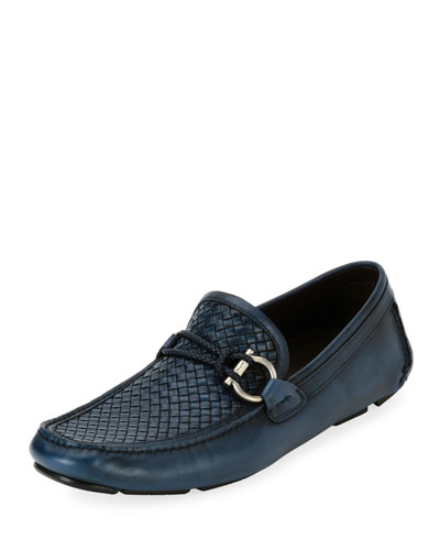 Men's Woven Leather Gancio Driver, Blue