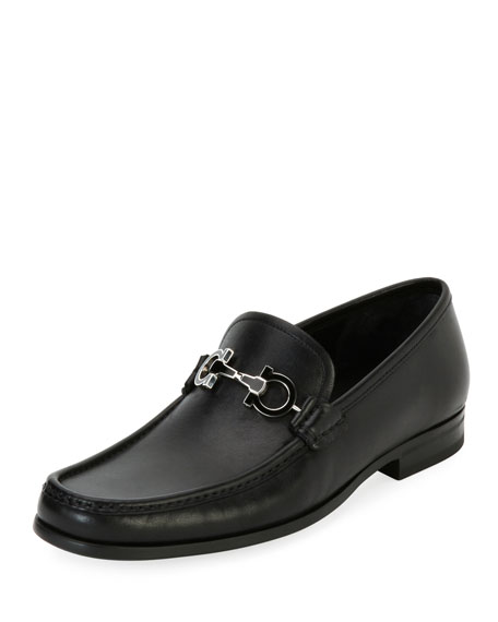 Leather Loafer with Reversible Gancini Ornament