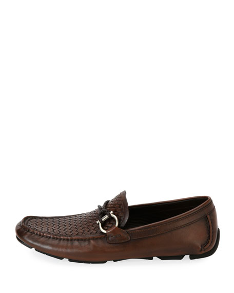 Woven Leather Gancio Driver, Brown