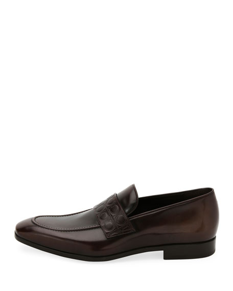 Men's Leather Gancio-Stamped Loafer, Brown