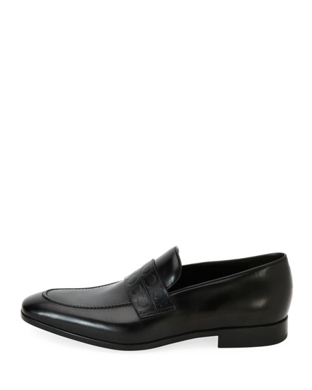 Men's Leather Gancio-Stamped Loafer, Black