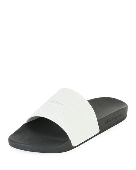 Embossed Gancini Slide Sandal