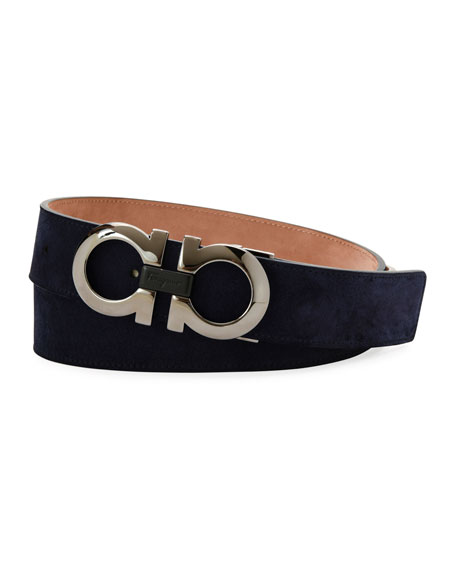 Suede Double-Gancini Belt