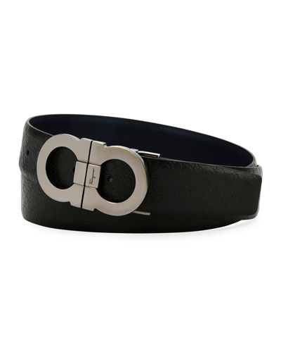 Stamped Micro-Gancini Reversible Leather Belt