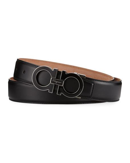 Enamel Double Gancini Belt, Black