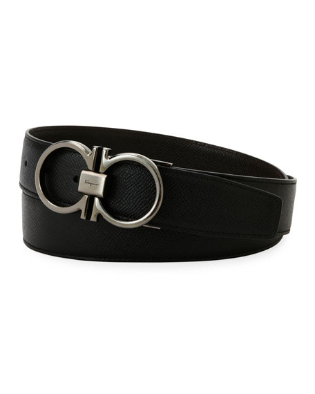 Men's Classic Double-Gancio Stamped Leather Belt