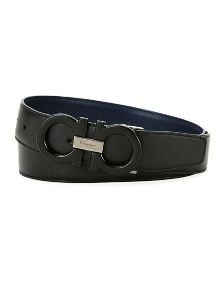 Tonal Double-Gancio Leather Belt