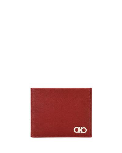 Revival Gancini Bi-Fold Leather Wallet, Red