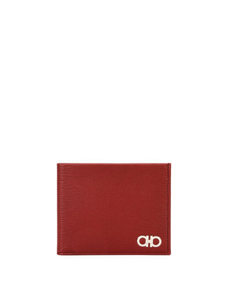 Men's Revival Gancini Bi-Fold Leather Wallet, Red