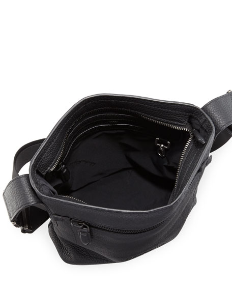 Men's Black on Black Pebbled Leather Crossbody Bag, Black