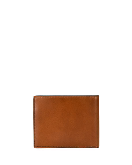 Men's Smooth Calfskin Leather Bi-Fold Wallet
