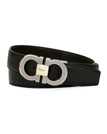 Men's Etched Double-Gancio Leather Belt