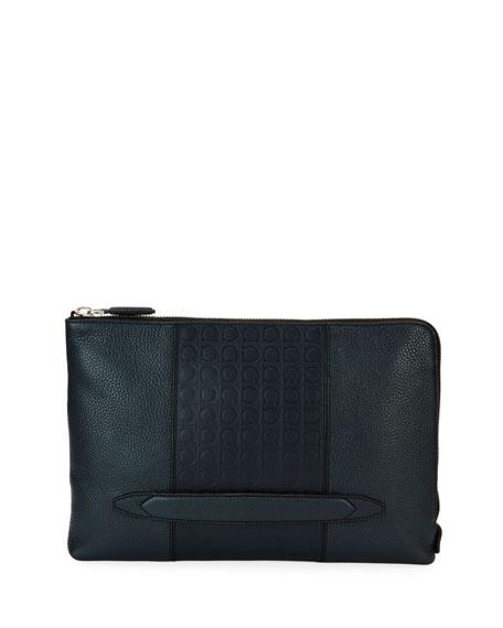 Gancio-Embossed Leather Portfolio