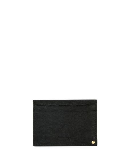 Men's Revival Gancini Leather Card Case with Flip-Out ID Window, Black