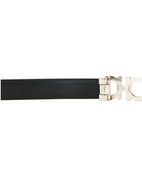Woodgrain Gancini Reversible Leather Belt