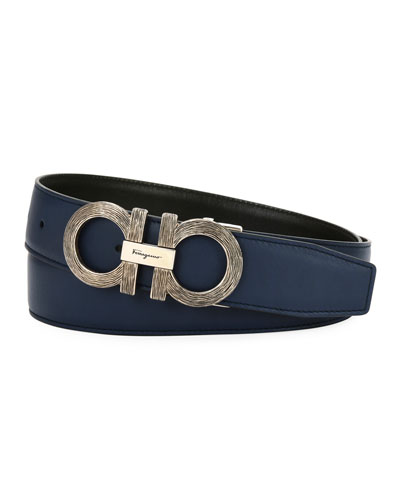 Men's Woodgrain Gancini Reversible Leather Belt