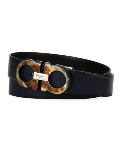 Resin Gancini Leather Belt