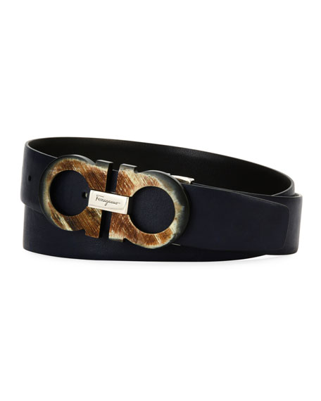 Men's Resin Gancini Leather Belt