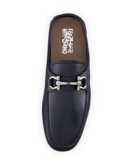 Leather Gancini-Bit Mule Slide, Navy