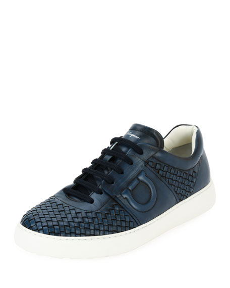 Woven Leather Low-Top Sneaker, Sunset Blue (Indigo)