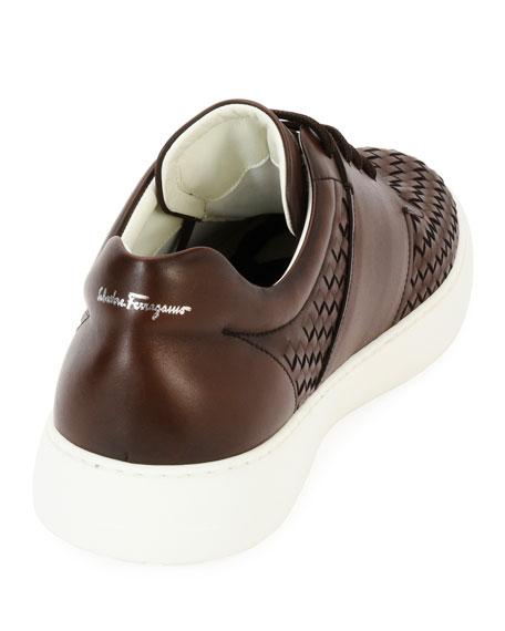 Woven Leather Low-Top Sneaker, Medium Brown
