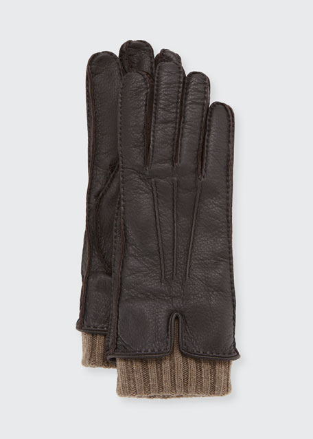 Nubuck Leather & Cashmere Gloves