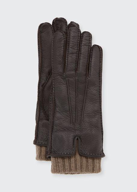 Loro Piana Nubuck Leather & Cashmere Gloves