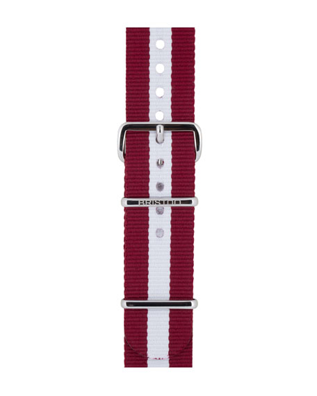 20mm Harvard Striped Nylon Watch Strap, Burgundy/White