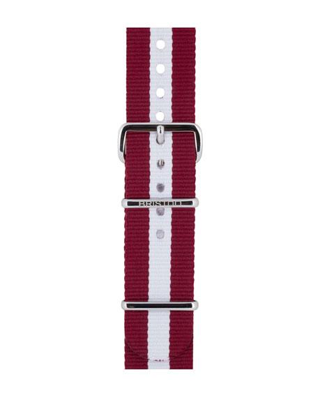 Briston 20mm Harvard Striped Nylon Watch Strap, Burgundy/White