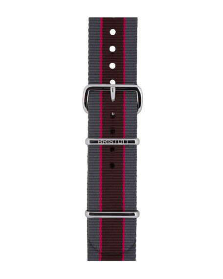 20mm Riffle Striped Nylon Watch Strap, Gray/Pink/Brown