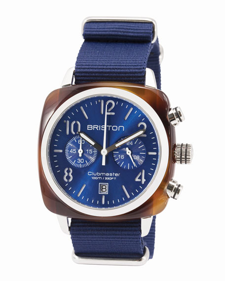 Briston Clubmaster Classic Chronograph Watch, Navy