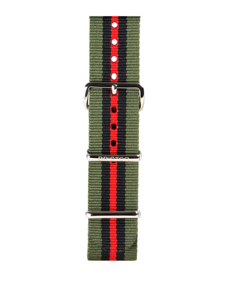 20mm Striped Nylon Watch Strap, Green/Black/Red