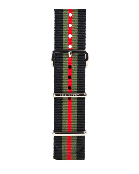 20mm Striped Nylon Watch Strap, Black/Green/Red