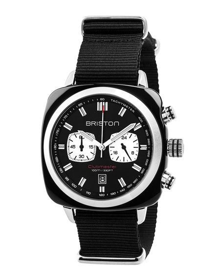 Briston Clubmaster Sport Acetate Chronograph Watch, Black/White