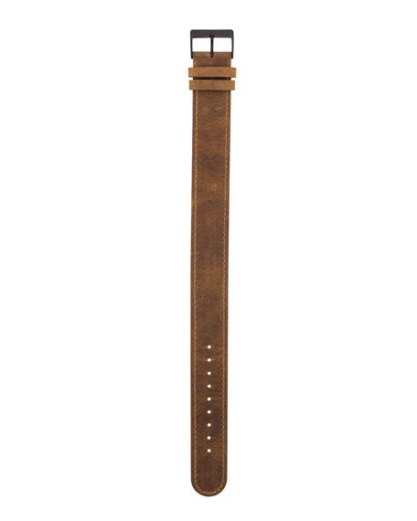 20mm Leather Watch Strap w/ Matte Buckle, Brown