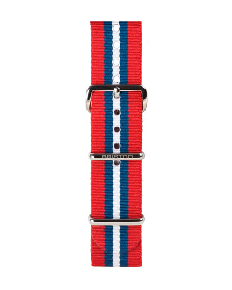 20mm Striped Nylon Watch Strap, Red/Blue/White